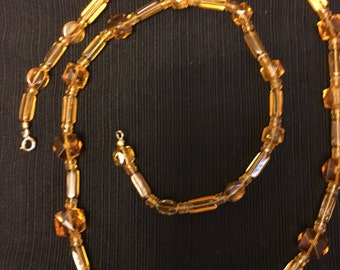 Vintage Butterscotch Glass Crystals Necklace