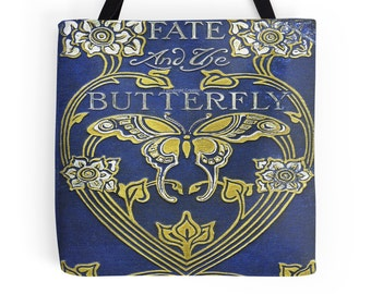 Fate and the Butterfly Book Cover Tote Bag, Bookbag