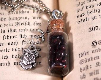 Glass Bottle of Garnet Gemstones Necklace