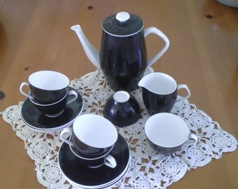 Black and White Tea Espresso Set for Five