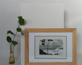 Maine Landscape Handprinted Linocut Block Print