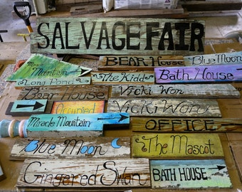 Custum Hand Painted Signs On Salvage Wood