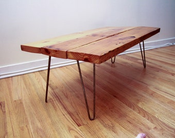 Rustic Reclaimed Wood and Hairpin Leg Table, Coffee Table, or Dining Table