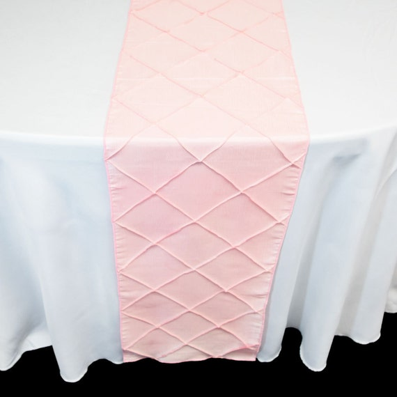 Pintuck Chameleon Table Runner In Light Pink Or Turquoise