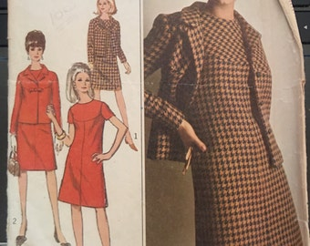 Vintage 60's Simplicity 7264 Suit/Dress Pattern-Size 14 (34-26-36)