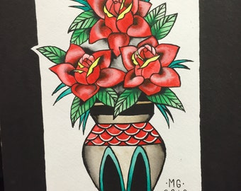 Rose Vase Original Painting