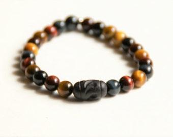 Men's Wood & Tiger's Eye Beaded Bracelet