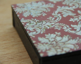 Damask Hand Painted Etched Wooden Panels