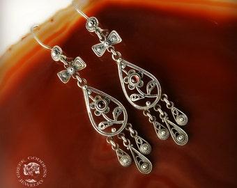 filigree agate dangle earrings, byzantine silver earrings, antique earrings, vintage earrings, goddess jewelry, greek jewelry, agate