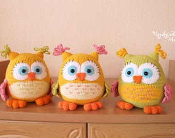 "Crochet toy pattern ""Colorful owl"" PDF"
