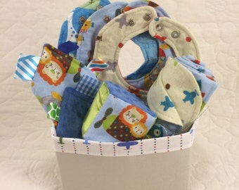 Animals in Planes Baby Gift Set Basket - 3 Bibs, Ribbon Crinkle Toy, Block, Blanket, and Fabric Basket