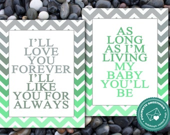 Love you forever Baby art - Green
