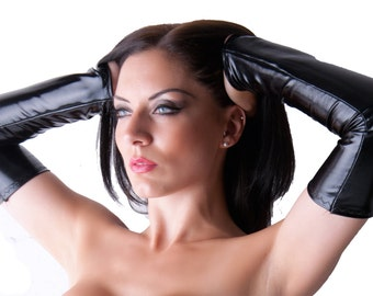 Black Wet Look PVC Lycra Spandex Arm Warmers Gauntlets Sleeves Fingerless Gloves Armwarmers Shiny Gothic G33
