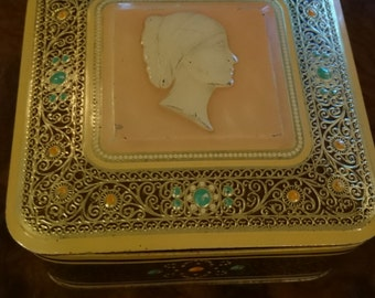 Vintage Hinged Lid Tin/ Made in Holland/ Cameo Head/ Decorative