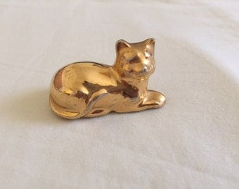 Vintage Gold Plated Porcelain Cat Figurine