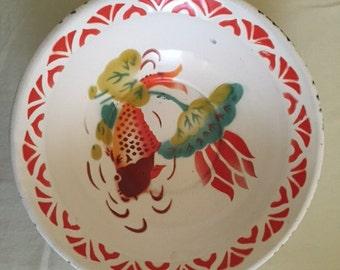Vintage Koi Goldfish Enamelware Bowl