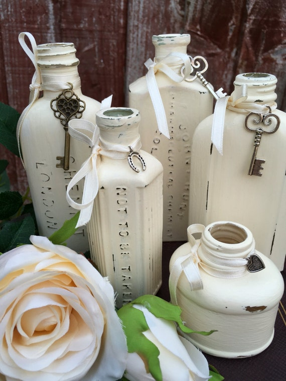 Decorative Custom Painted Bottles - Miniature Glass Bottles / Shabby Chic Style Painted Vintage Bottles / Interior Design Accents