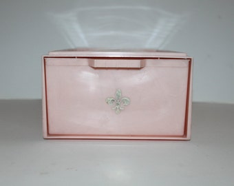 MCM Vintage Pink Drawer-Shelf-Container-Storage with Fleur de Lis-Midcentury