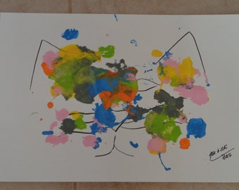 """cat/painting/my cat paints!  """"Catty Abstract #1"""""""