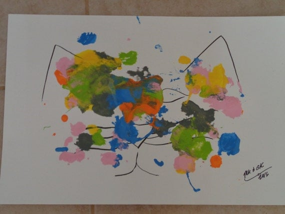 "cat/painting/my cat paints!  ""Catty Abstract #1"""