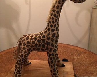 Handcrafted Primitive Giraffe Replica of a Vintage Pull Toy