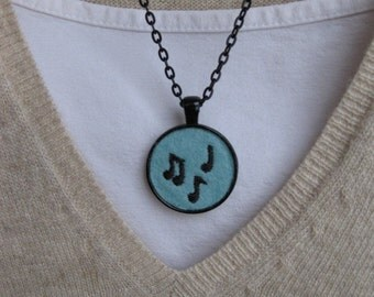 Music Notes Embroidered Necklace