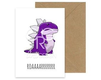 ROAARRRR - Dinosaur Greeting Card with Envelope