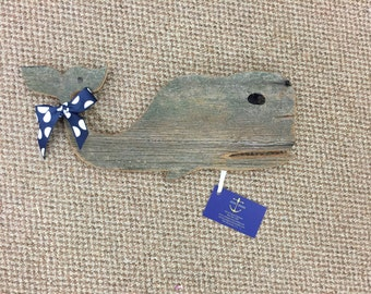 Reclaimed Wood Whale Wall Decor -- Medium
