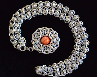 Chainmail Parallel Pendant with Barrel Weave Chain