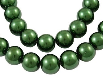 """Green 8mm Round Glass Pearl Beads (33"""" Strand)"""