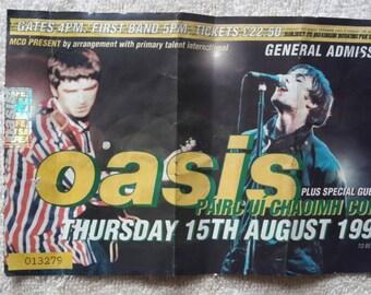 1996 Oasis Concert Ticket.