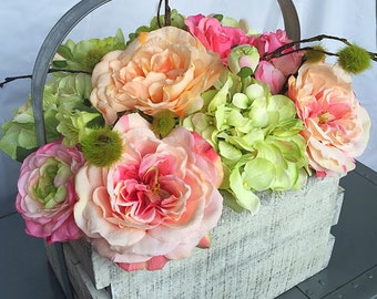 Distressed White and Grey  crate basket with Pink and Green Arrangement Ranunculus Hydrangeas Roses