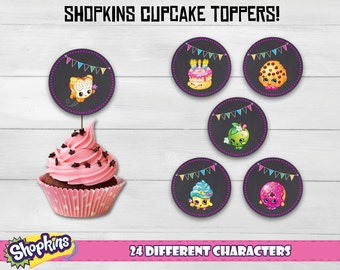"""Shopkins cupcake toppers! Shopkins party supplies for your party. Shopkins chalk toppers. 24 different designs! 2x2"""" each."""