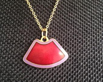 Vintage red cloisonne pendant, Laurel Burch Pendant, cloisonne enamel jewelry, cloisonne necklaces, cloisonne pendants, Laurel Burch N160