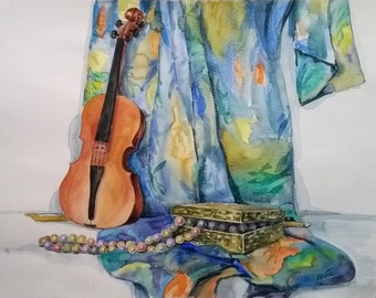 Original Watercolor Still Life, Fine Art Painting, Violin, Musical Instrument Art, Large Wall Art, Music Room Home Decor, Music Teacher Gift