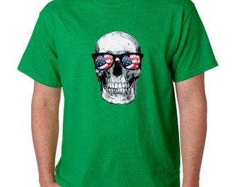 Day of Dead Sugar Skull T-shirt USA Flag Skull Shirts