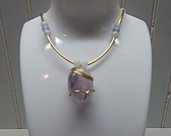 Fashion jewelry,  Stone Necklace, Polished stone, Pendent stone necklace