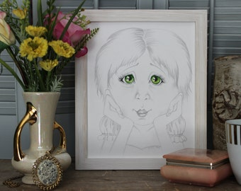 """watercolor painting, whimsical art, whimsical painting, pencil drawing. unique paintings, green artwork. 8""""X10"""" little girl. pencil drawing"""