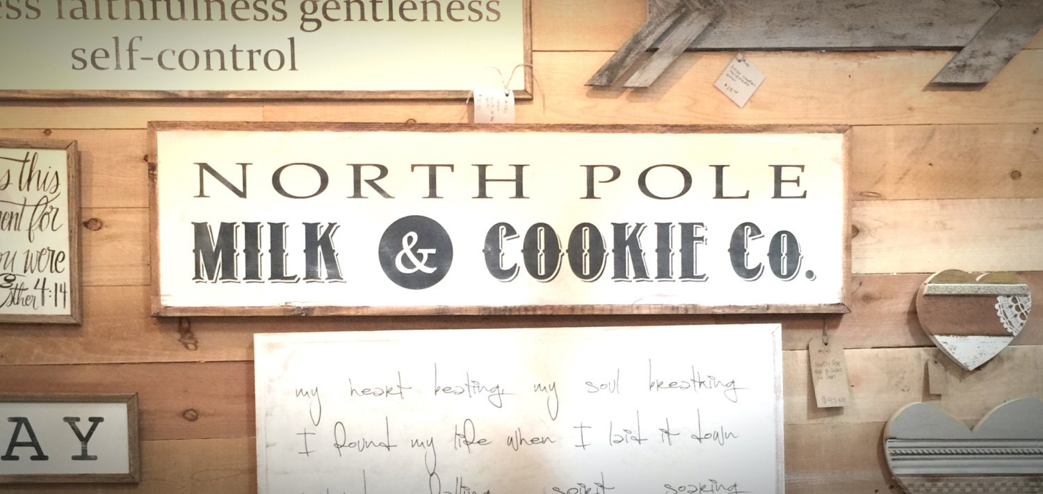 1x4 North Pole Milk Amp Cookie Co Hand Painted Wood Sign