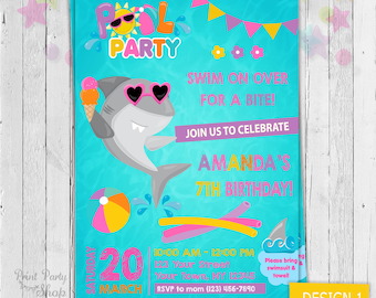 Girl Shark Invitation / Printable Invitation / Digital Invitation