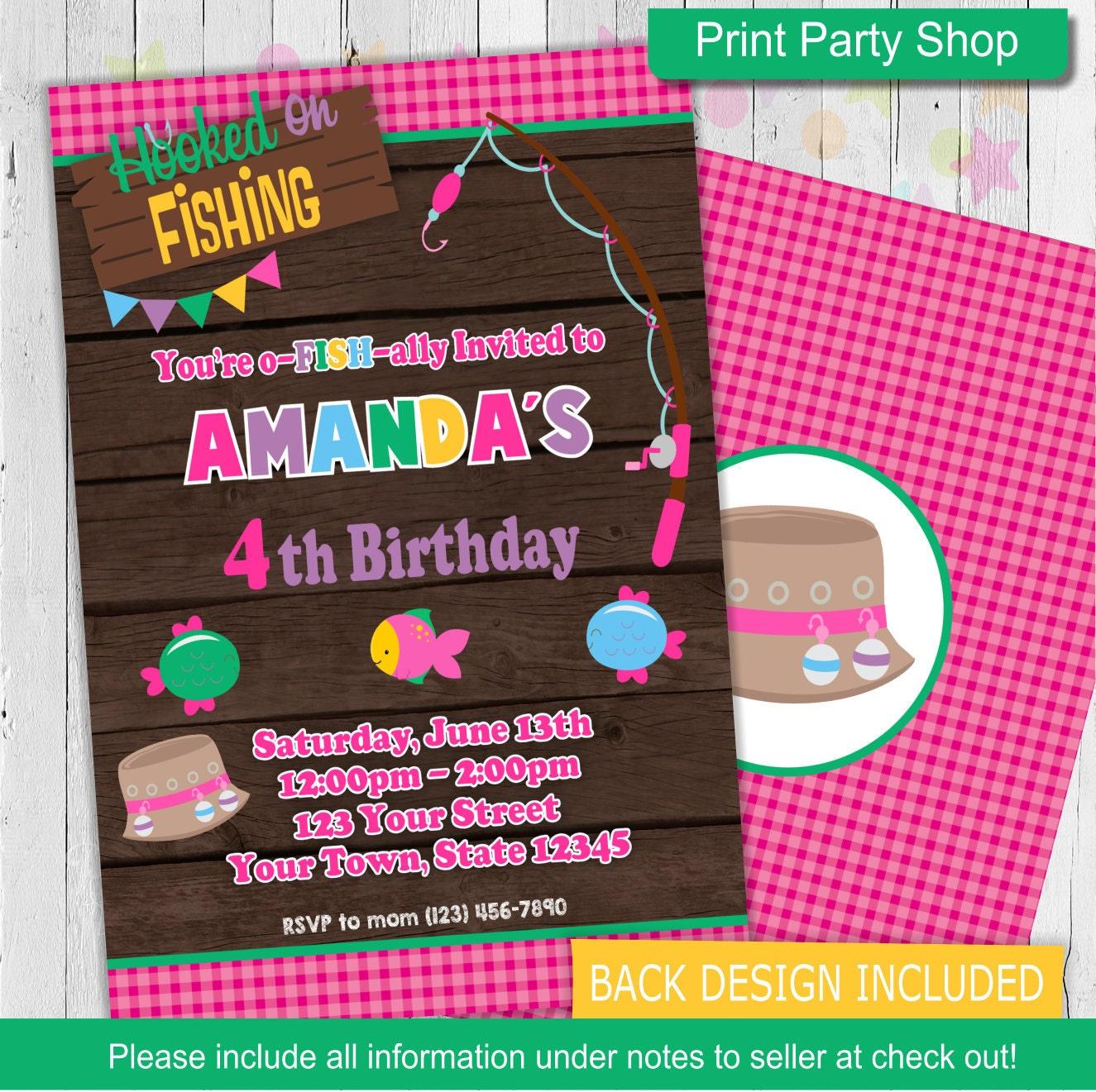 Girl fishing birthday invitation printable invitation for Fishing birthday invitations