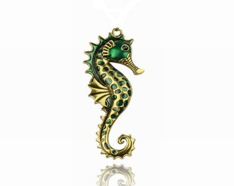 1 Green Seahorse Antique Gold Tone Enamel Pendant Sea Horse 80mm Jewelry Making Supplies Necklace Parts