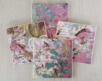 Pink Flower Coasters Flower Tile Coasters Floral Print Mother's Day Gift Teacher Gift for Friend Drink Coasters Beverage Coasters - 4