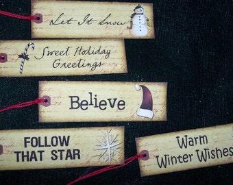 TEN Retro Christmas Holiday Hang / Gift Tags