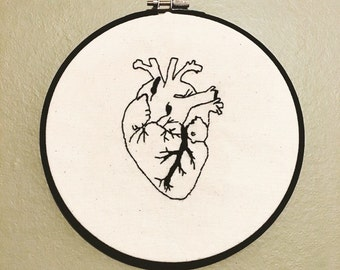 Human Heart Black Hoop Embroidery