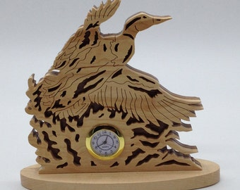 Nature's Majesty Startled Mallard Desk/Shelf Clock - Maple & Walnut
