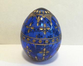 Beautiful  Cobalt Blue Glass Faberge Egg