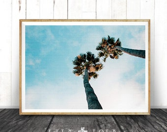 Palm Tree Print, Beach Decor, Wall Art Print, Modern Beach, Aqua Blue, Coastal, Clouds, Minimalist Photography, Printable Instant Download