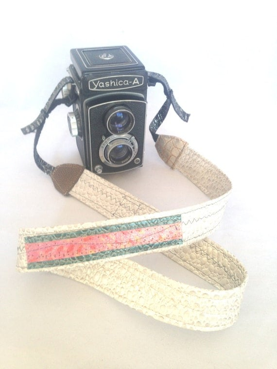 One Of A Kind Adjustable White and Green Camera Strap with Hand Painted Fabric