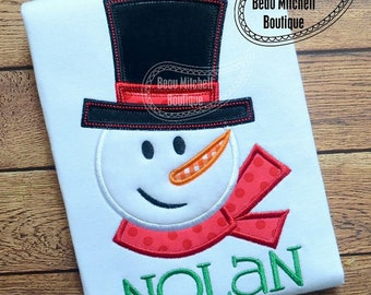 Snowman with hat, Christmas Shirt Embroidered Toddler T-shirt, Embroidered T-shirt